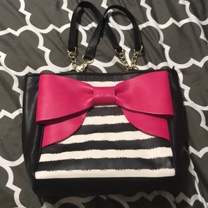 Betsey Johnson Black and white bag with pink bow